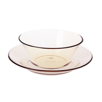 美国康宁百丽耐热玻璃透明碗碟两件组