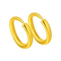 周大福珠宝首饰圆环形足金黄金耳钉计价F3545