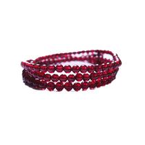 檀紫珠连天然红石榴石手链