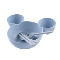 铂美思创意米奇餐盘小麦秸秆饭碗餐具小勺筷子套装颜色随机