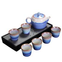 钧艺瑰宝窑变高山流水茶具套装泡茶工具7头款JY04颜色随机发货