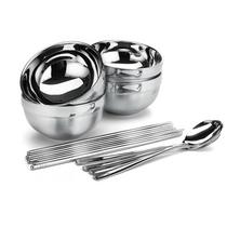 旗丰不锈钢旅游便携套装双层防烫饭碗家庭旅行碗筷勺四人装QF9065
