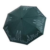 雨宝新款加大十骨男女黑胶防晒创意双子塔晴雨伞三折伞款式随机29cm