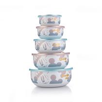 迪士尼真空密封搪瓷碗五件套装餐具保鲜碗饭碗汤面碗饭盒DSM-CF096