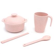星橙儿童餐具防摔碗筷小麦秸秆环保饭碗套装XC-327颜色随机