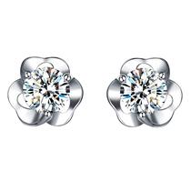 简丹S925银镶嵌璀璨锆石银耳钉花语