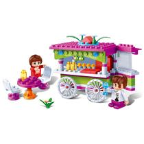 邦宝益智拼插积木玩具情景模拟零食车6118