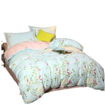 快乐小稻全棉床上四件套夏季纯棉双人印花床单被罩枕套2米床田园风春色