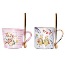 比得兔北欧风马克杯带勺咖啡杯情侣杯一对PR-T1055