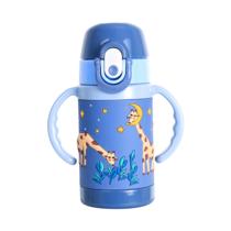 Diller儿童吸管奶嘴一杯两盖可爱卡通防摔水杯D8842-400ml颜色随机发