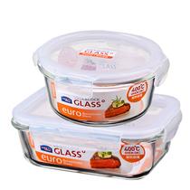 乐扣乐扣分隔微波炉饭盒耐热玻璃碗密封乐扣保鲜盒便当盒2件套LLG831S905