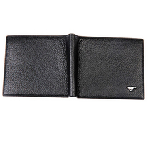 七匹狼男士经典黑色皮夹头层牛皮革短款钱包黑色3T1313223-01