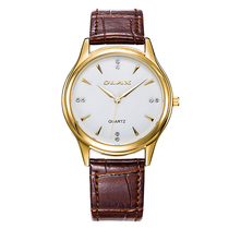 欧雷仕OLAX防水腕表商务皮带简约石英手表金色40002M