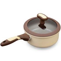 新思特陶瓷奶锅巧克力系列带盖家居厨房厨具锅具不粘锅陶瓷18cm
