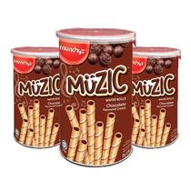 马奇新新妙乐巧克力味注心威化卷饼干85g×3桶装
