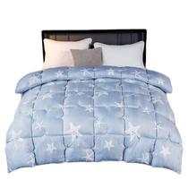 悦洁被子双人羽丝绒被四季通用被保暖被芯-蓝色星星BMN200x230