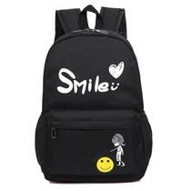 形象派双肩背包学生书包背包时尚休闲黑色