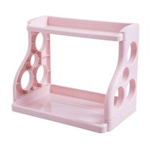 宜恋置物架厨房落地双层架化妆品收纳架塑料储物架颜色随机