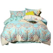 快乐小稻全棉床上四件套夏季纯棉双人印花床单被罩枕套2米床欧式阿斯顿