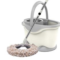 开心妈妈旋转拖把杆自动甩干免手洗家用拖地一拖净带桶三头加强杆+塑料盘M016ab(颜色随机)